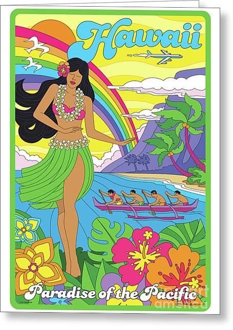 Hawaii Poster - Pop Art - Travel Greeting Card