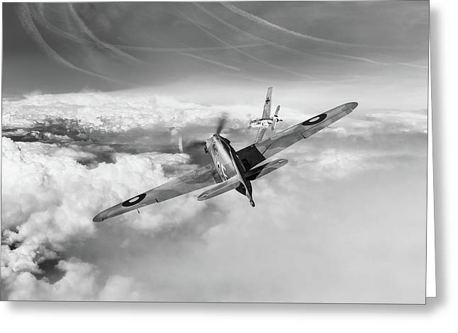 Greeting Card featuring the photograph Hawker Hurricane Deflection Shot Bw Version by Gary Eason
