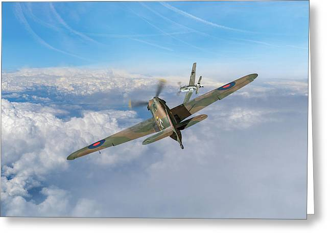 Greeting Card featuring the photograph Hawker Hurricane Deflection Shot by Gary Eason