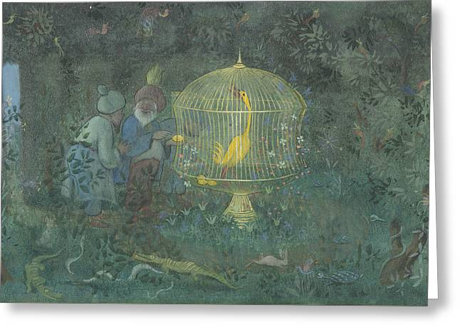 Greeting Card featuring the drawing he Golden Bird of the Caliph by Ivar Arosenius