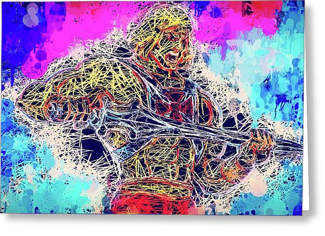Greeting Card featuring the mixed media He - Man by Al Matra