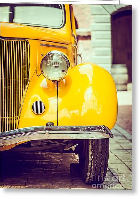 Headlight Lamp  Vintage Car - Vintage Greeting Card
