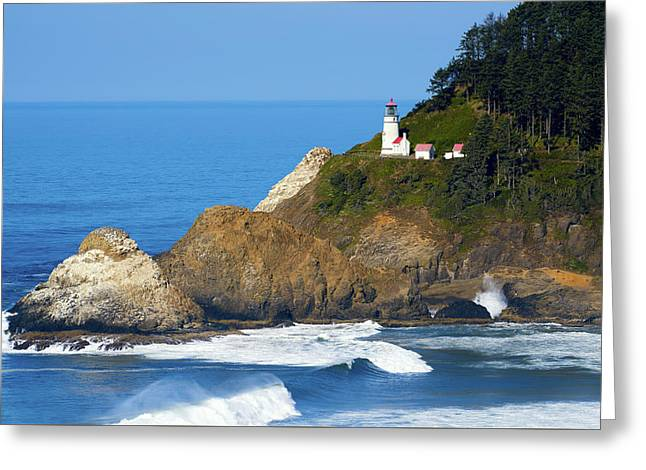 Greeting Card featuring the photograph Heceta Head Lighthouse1107 by Rospotte Photography