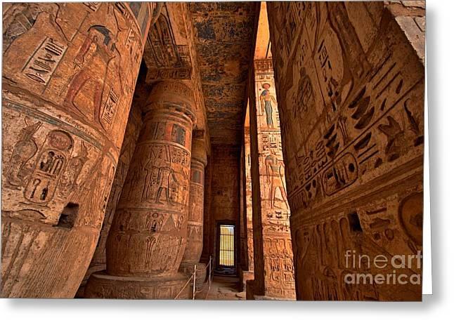 Heiroglyphs At Medinat Habu. Luxor Greeting Card