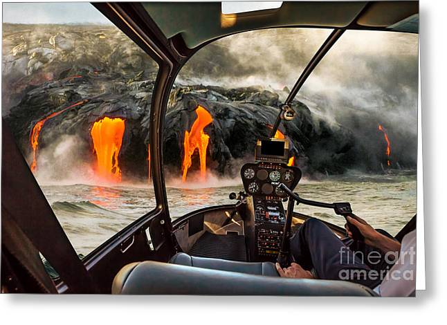 Helicopter Cockpit Flies In Kilauea Greeting Card