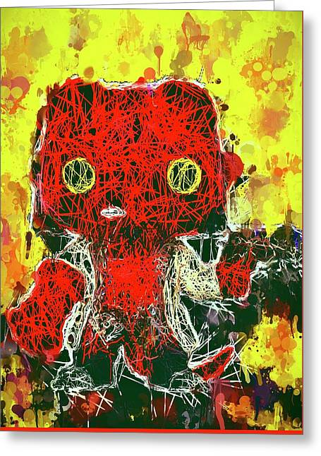 Greeting Card featuring the mixed media Hellboy by Al Matra