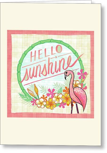 Hello Sunshine Flamingo Art Greeting Card