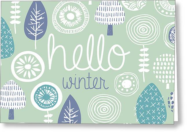 Hello Winter Leaves Flowers And Fall Greeting Card