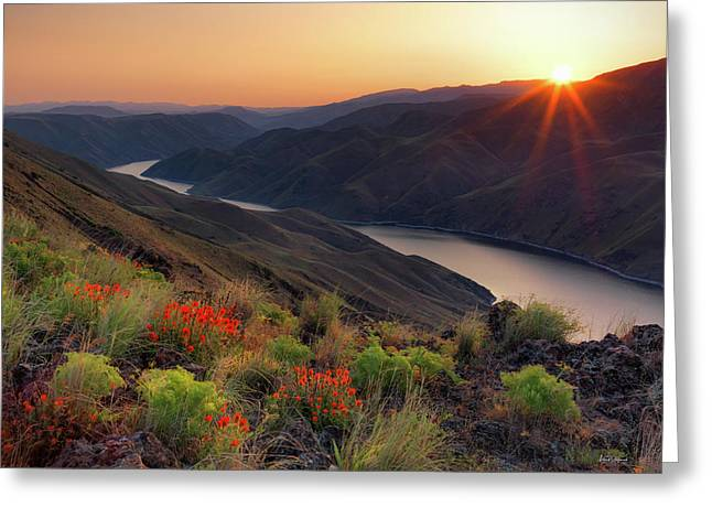 Hells Canyon Sunrise Greeting Card by Leland D Howard