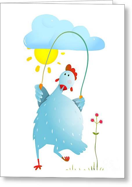 Hen Jumping Rope Childish Cartoon Greeting Card