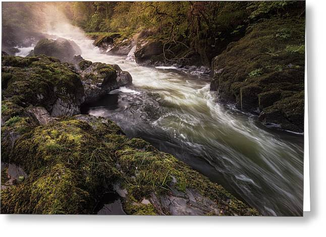 Greeting Card featuring the photograph The Teifi At Henllan Falls by Elliott Coleman