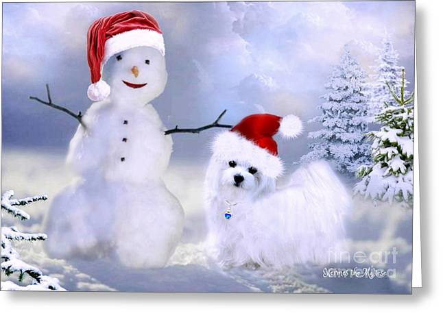 Hermes And Snowman Greeting Card