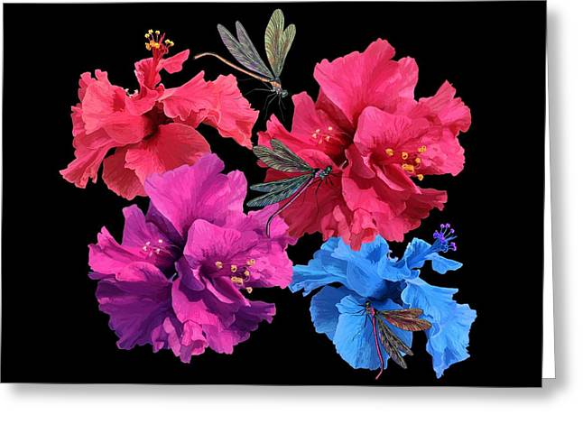 Hibiscus Dragonfly Greeting Card