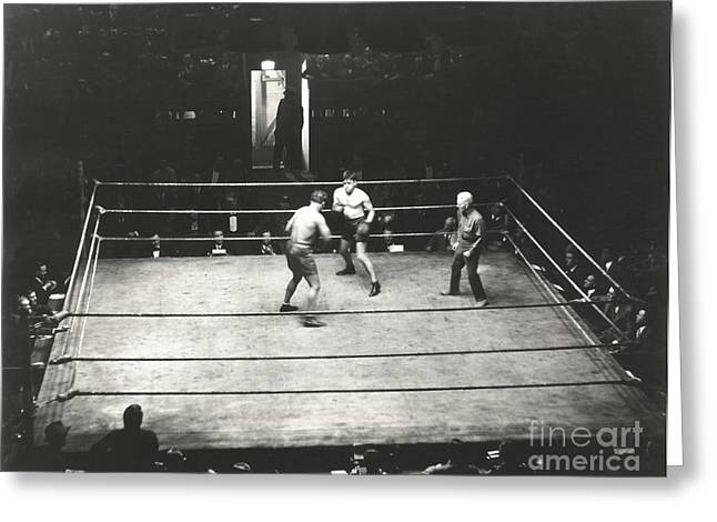High Angle View Of Boxing Match Greeting Card