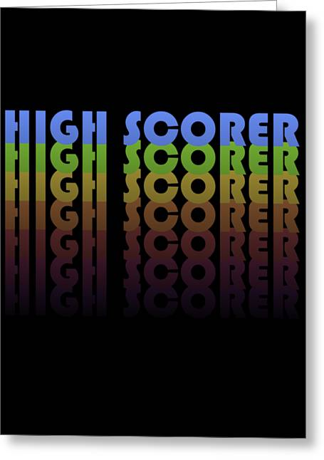 Greeting Card featuring the digital art High Scorer Gamer Vintage by Flippin Sweet Gear