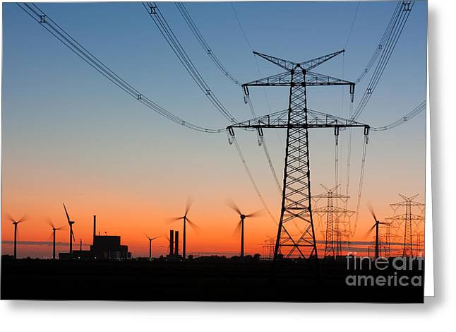 High Voltage Power Lines With Greeting Card