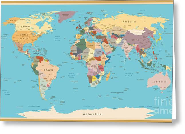 Highly Detailed World Map With Vintage Greeting Card