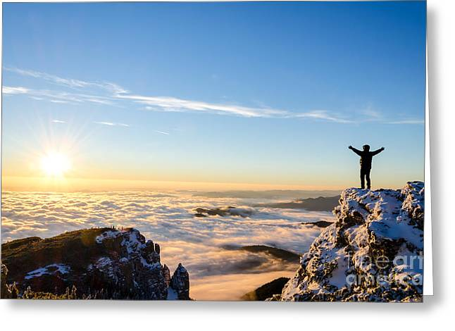 Hiker Celebrating Success On Top Of A Greeting Card