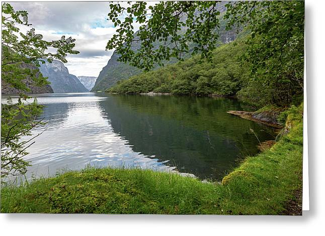 Greeting Card featuring the photograph Hiking The Old Postal Road By The Naeroyfjord, Norway by Andreas Levi