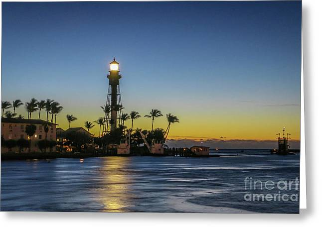 Hillsboro Light Reflection Greeting Card