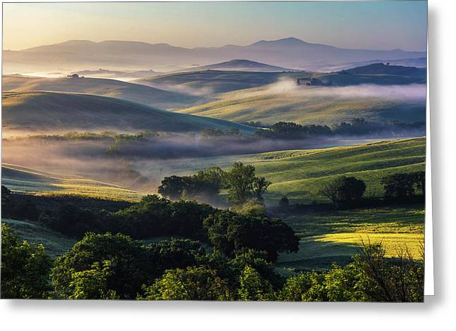 Hilly Tuscany Valley Greeting Card
