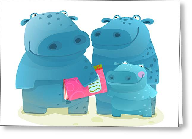 Hippo Family Mother Father And Kid With Greeting Card