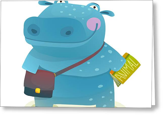 Hippopotamus Kid Student With Book And Greeting Card