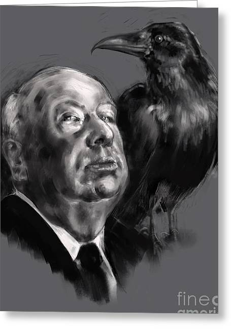 Greeting Card featuring the digital art Hitchcock by Lora Serra