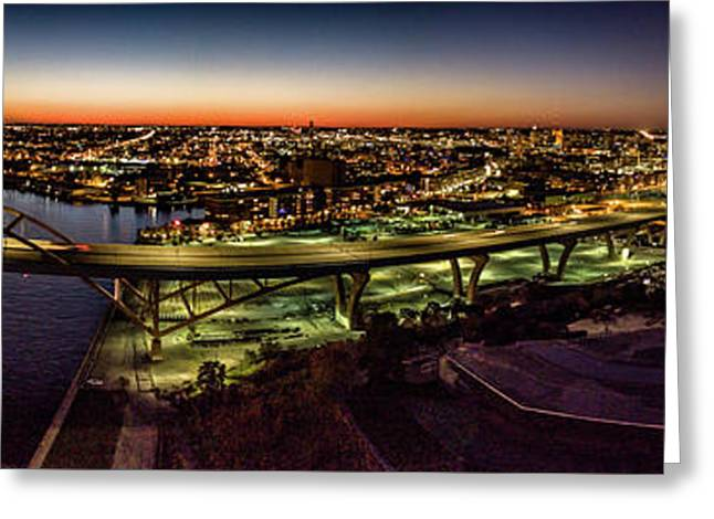 Greeting Card featuring the photograph Hoan Bridge At Dusk Panorama by Randy Scherkenbach