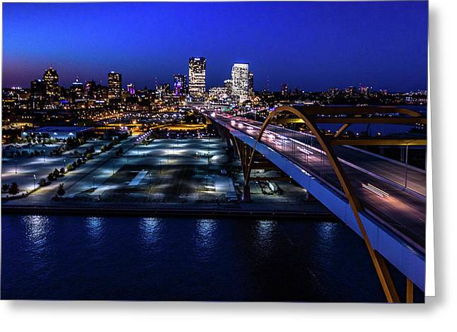 Greeting Card featuring the photograph Hoan Bridge At Dusk by Randy Scherkenbach