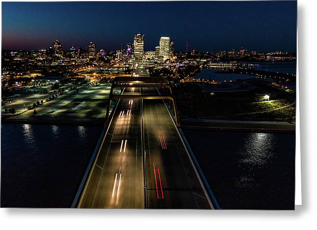 Greeting Card featuring the photograph Hoan Bridge Streaks by Randy Scherkenbach