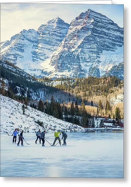 Hockey On Maroon Lake Maroon Bells Aspen Colorado Greeting Card