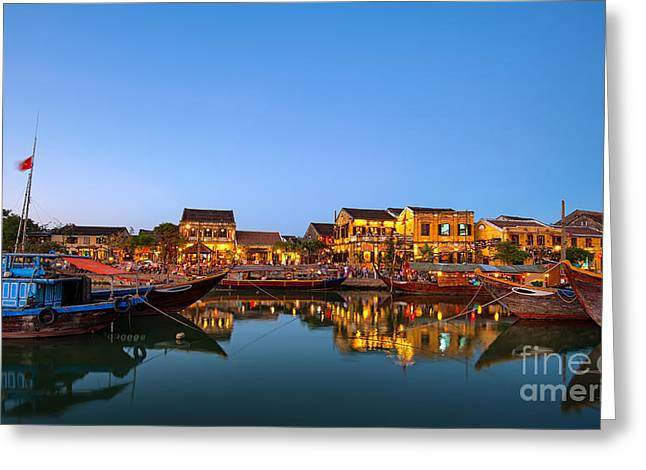 Hoi An Old Town In Vietnam After Sunset Greeting Card