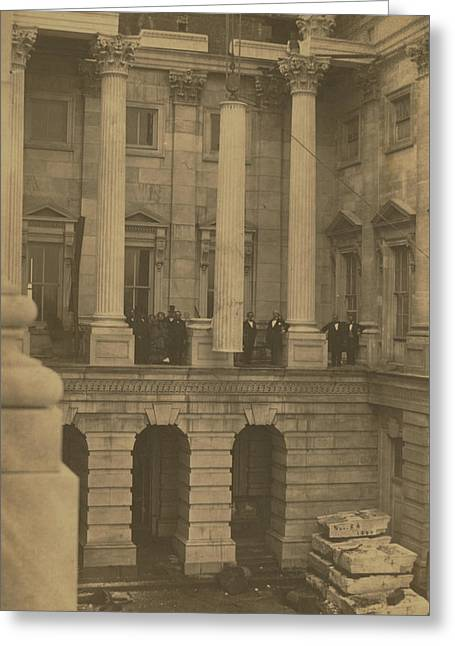 Hoisting Final Marble Column At United States Capitol Greeting Card