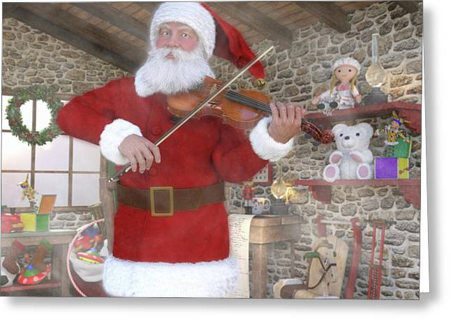 Holiday Santa Playing Violin Greeting Card