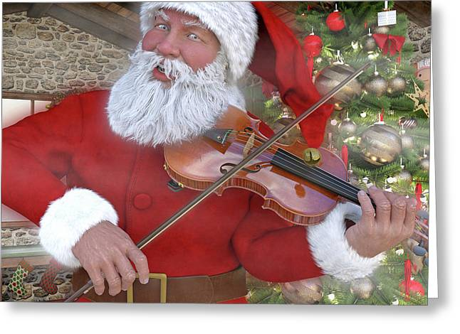 Holiday Santa Playing Violin Custom Greeting Card