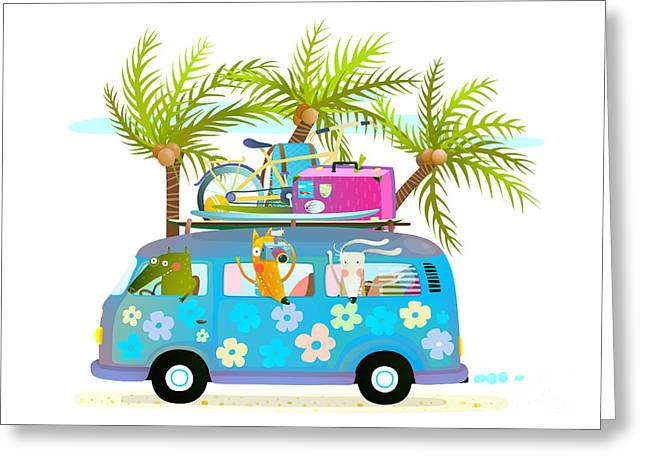 Holiday Summer Bus With Beach Tropical Greeting Card