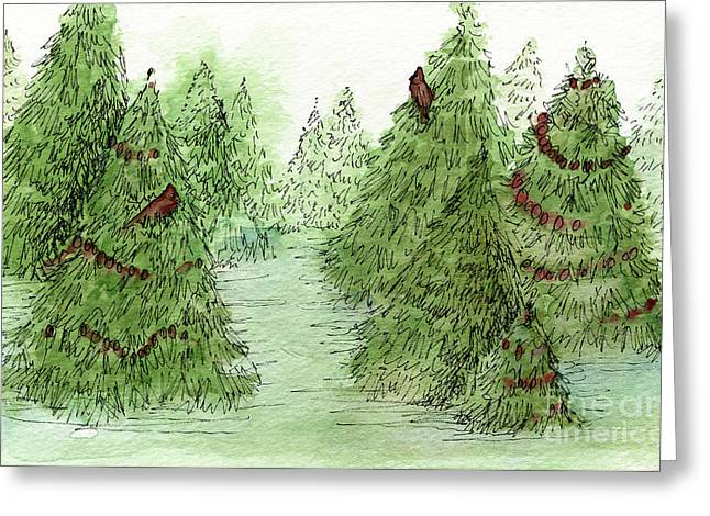 Holiday Trees Woodland Landscape Illustration Greeting Card