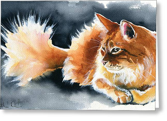 Holy Ginger Fluff - Cat Painting Greeting Card