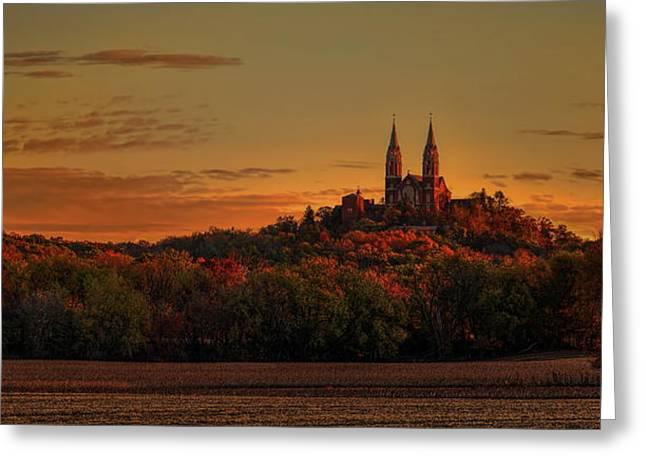Holy Hill Sunrise Panorama Greeting Card