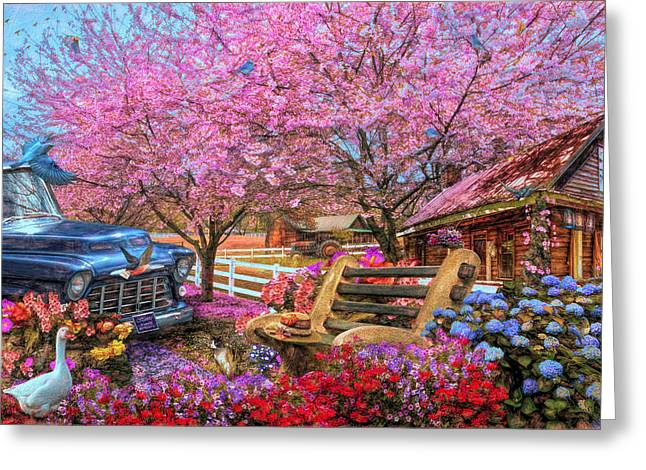 Home Is Where The Heart Is Country Painting Greeting Card