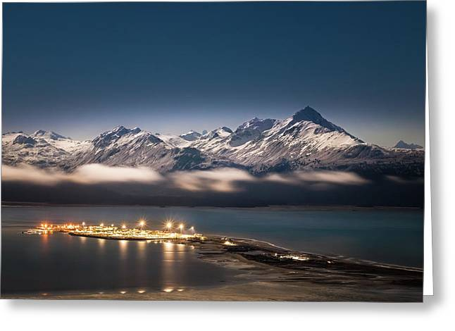 Homer Spit With Moonlit Mountains Greeting Card