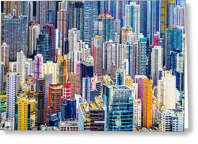 Hong Kong, China Dense Cityscape Of Greeting Card