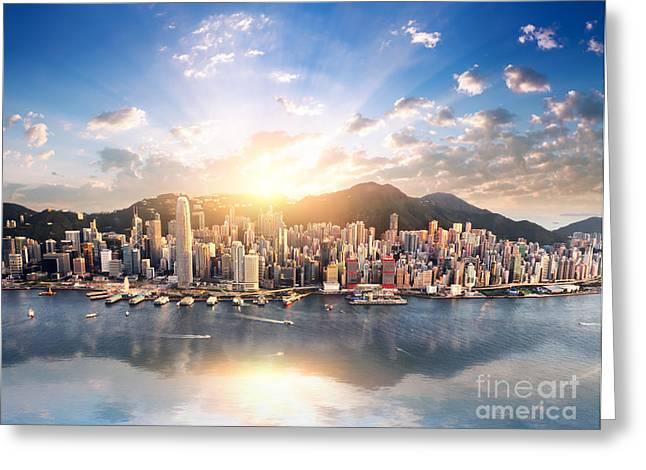 Hong Kong Skyline. Hongkong Hdr Aerial Greeting Card