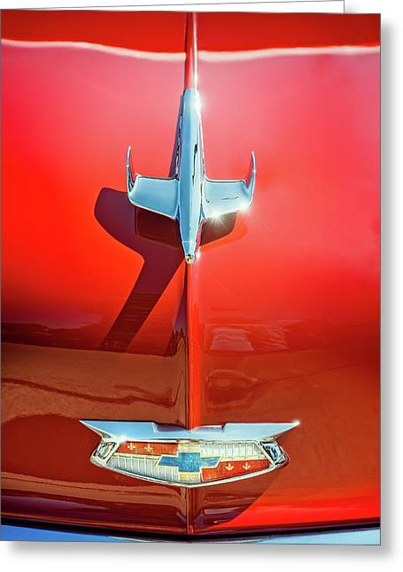 Hood Ornament On A Red 55 Chevy Greeting Card