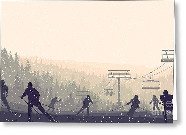 Horizontal Vector Illustration Skiers Greeting Card