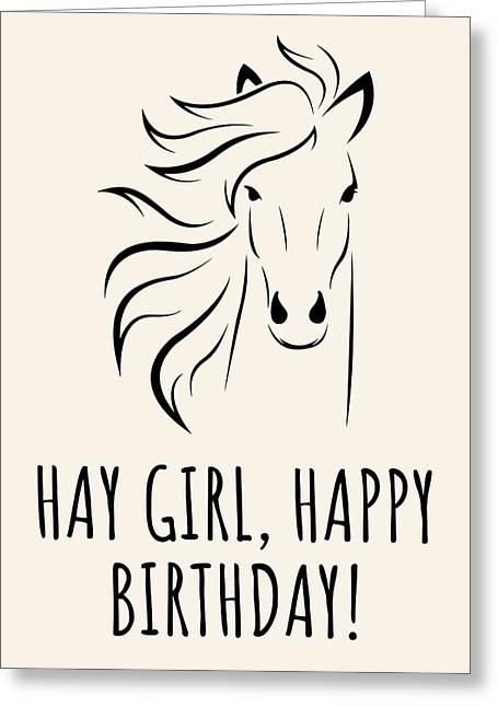 Horse Lover Birthday Card - Equestrian Birthday Card - Funny Horse Birthday Card - Hay Girl Greeting Card