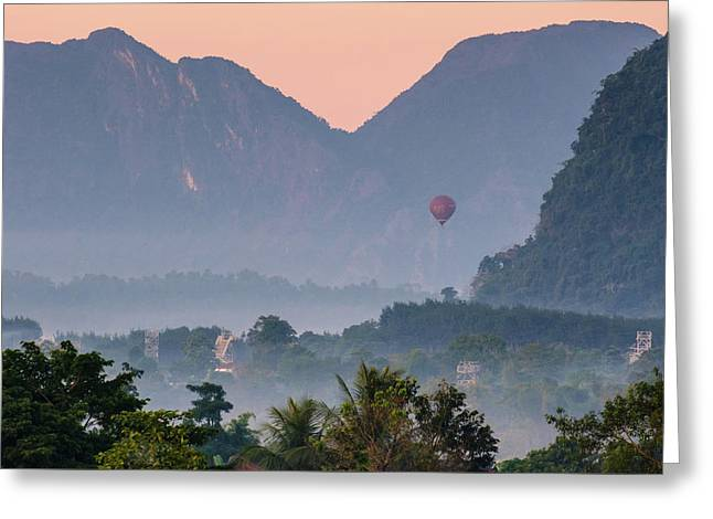 Greeting Card featuring the photograph Hot Air Ballon In Laos by Nicole Young