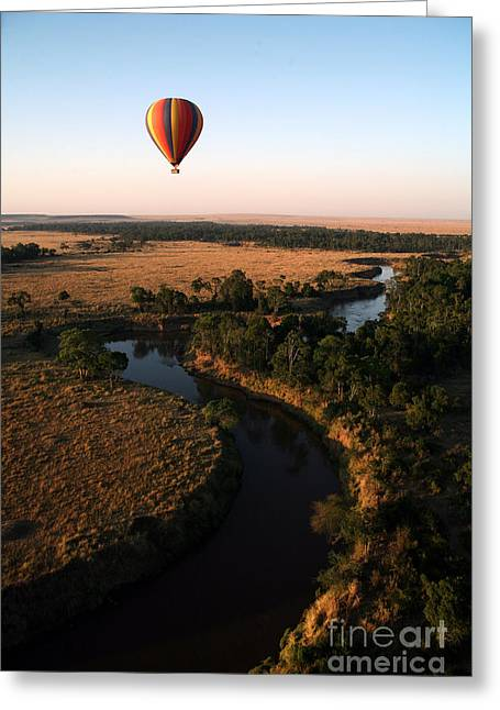 Hot Air Balloon Hovers Over The Winding Greeting Card
