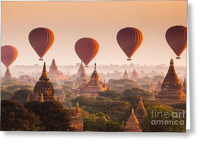Hot Air Balloon Over Plain Of Bagan At Greeting Card